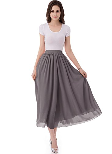 emondora Women's Chiffon Long A-line Retro Skirts Pleated Beach Maxi Skirt Grey Size M