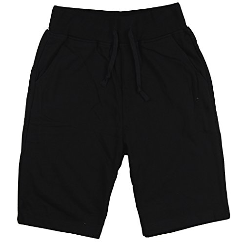 Style Black Short (Men's Sweat Style Long Athletic Shorts (Black, Large))