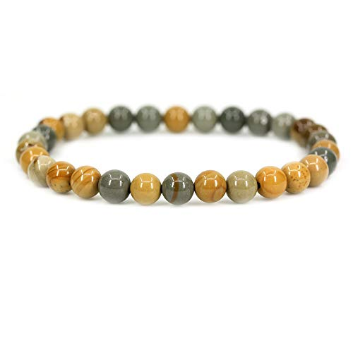 Amandastone Natural Owyhee Picture Jasper Gemstone 6mm Round Beads Stretch Bracelet 7