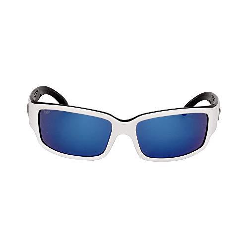 Costa del Mar Unisex-Adult Cabalitto CL 30 OBMP Polarized Iridium Wrap Sunglasses, White/Black, 59.2 mm