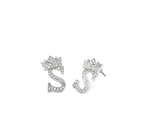Fashion 21 Unisex Crown Tilted Initial Alphabet Letter Pierced Post Stud Earring Gold, Silver Tone (S - Silver)