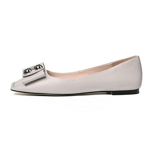 Sandalias Cuadrada Cuero Superficial Zapatos de Boca Mujer Pisos de QXH Cabeza Grey q6pwFAx7tt