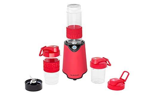 Mironi Personal 500-Watt Mini Blender and Smoothie Maker with Grinder Cup, 2 Blender Bottles and Recipe Booklet, Red