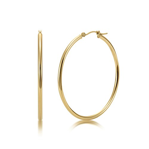 High Polished 14k Yellow Gold 2mm x 35mm Click Top Tube Hoop Earrings - By Kezef Creations