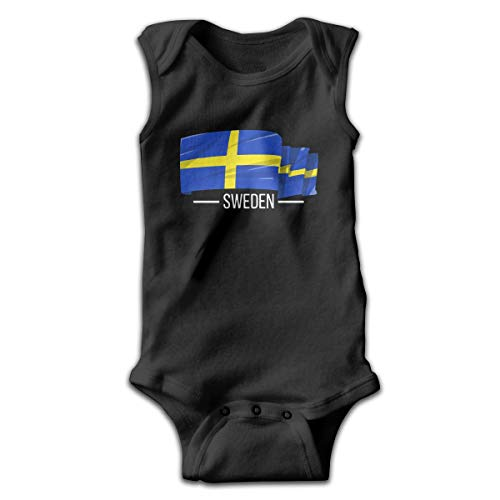 Baby Boys I Love Sweden Swedish Flag Sleeveless Climbing Clothes Creeper Jumpsuits Suit 0-24 Months Black