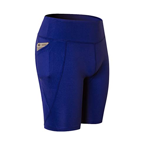 Womens High Waist Out Pocket Yoga Short,Workout Running Elastic Tummy Control Athletic Breathable Sport Shorts Blue