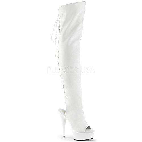 - Pleaser Women's Del3019/wpu/m Boot Faux Leather/White, 6 M US