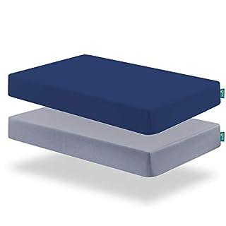 Biloban Crib Sheets 2pack,Fitted Crib Sheet for Standard Crib Mattress,Cozy Toddler Sheets for Boys,Machine Washable, Microfiber,Grey & Navy
