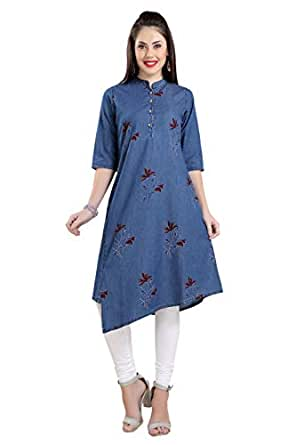 Innovative Presents Asymmetric Printed Denim Kurti, Blue