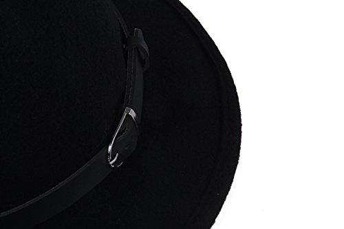 Prefe Women s 100% Wool Belt Fedora Witch Hat Halloween Costume Accessory 4454a662b0b7