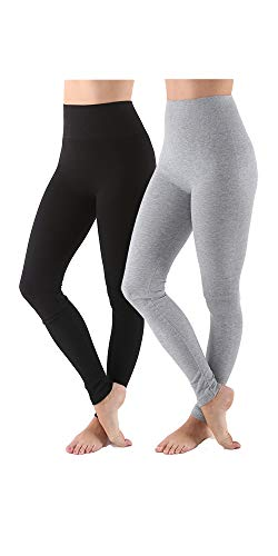 - AEKO Women's Thick Yoga Soft Cotton Blend High Waist Workout Leggings with Tummy Control Compression (S/M USA 2-6, Black-LT Gray)