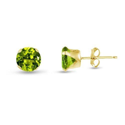 Kezef rond 7 mm-Vert Peridot CZ Jaune-Boucles d'oreille clous en argent plaqué or