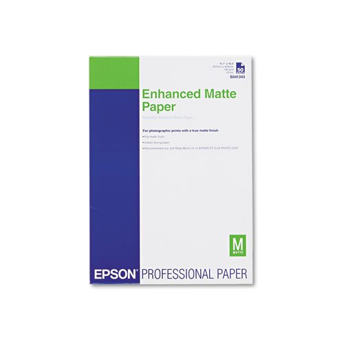 Epson S041343 Ultra Premium Matte Presentation Paper, 11-3/4 x 16-1/2, White, - Premium Matte Epson Ultra
