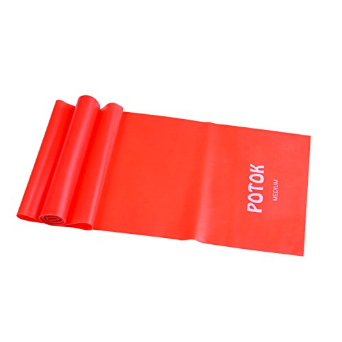 Potok Resistance Band Set, 3Pack Latex Elastic Bands for Upper & Lower Body & Core Exercise, Physical Therapy, Lower Pilates, at-Home Workouts, and Rehab, Yellow & Red & Blue (1.2m/4ft)