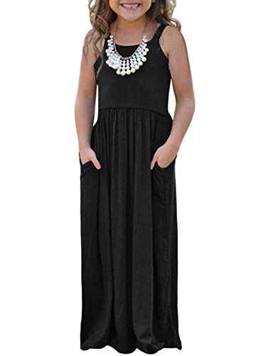 AlvaQ Girls Summer Soft Sleeveless Princess A line Maxi Dress Casual Pleated Full Skirt Size 10 11 Black]()