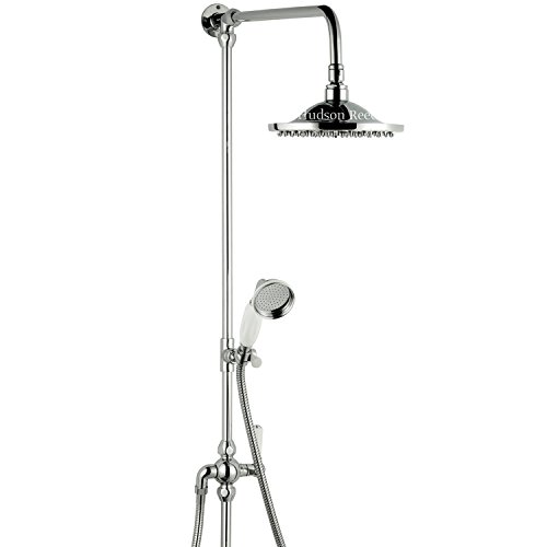 Hudson Reed Traditional Grand Riser Riser Shower Kit Bathroom Set With 8'' Rose Overhead & Ceramic Handset Sprayer - Chrome Finish by Hudson Reed