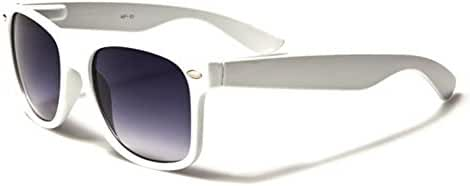 Dark Lens Retro Style Sunglasses Flex Fit Frame - White