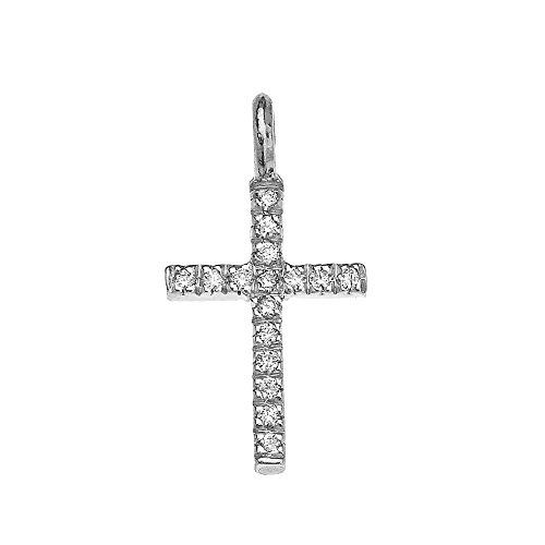 Collier Femme Pendentif 14 Ct Or Blanc Diamant Croix Charme (Livré avec une 45cm Chaîne)