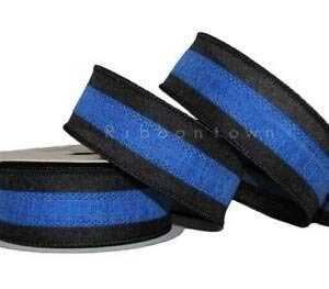 10 Yards Black and Blue Stripe Police Cop Officer Colors Wired Ribbon 1 1/2
