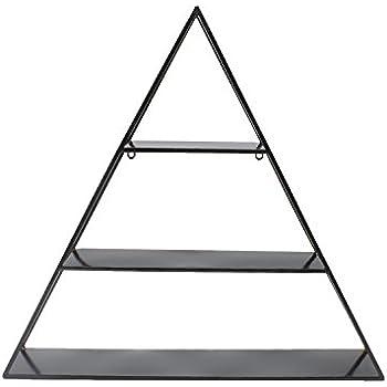 Kate and Laurel Tildan 3 Tiered Triangle Floating Metal Wall Shelf, Black