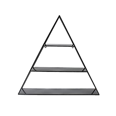 Kate and Laurel Tildan 3 Tiered Triangle Floating Metal Wall Shelf, Black - Contemporary designed, decorative triangle floating wall shelves with 3 inner shelves and a sturdy metal frame finished in a glamorous gold leaf Metal floating shelves ship fully assembled; Hanging hardware is already attached for easy display The display dimensions are 28 inches wide by 6 inches deep by 26.5 inches high so they will fit nicely over a console table, by an entryway or as a fantastic shelf in the bedroom - wall-shelves, living-room-furniture, living-room - 31OgoY%2BZpML. SS400  -