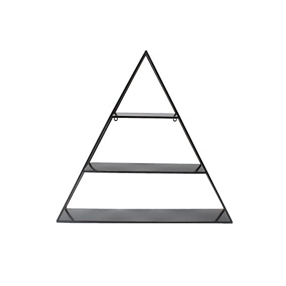 Kate and Laurel Tildan 3 Tiered Triangle Floating Metal Wall Shelf, Black - Contemporary designed, decorative triangle floating wall shelves with 3 inner shelves and a sturdy metal frame finished in a glamorous gold leaf Metal floating shelves ship fully assembled; Hanging hardware is already attached for easy display The display dimensions are 28 inches wide by 6 inches deep by 26.5 inches high so they will fit nicely over a console table, by an entryway or as a fantastic shelf in the bedroom - wall-shelves, living-room-furniture, living-room - 31OgoY%2BZpML. SS570  -