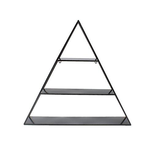 Pyramid Shelving - Kate and Laurel Tildan 3 Tiered Triangle Floating Metal Wall Shelf, Black