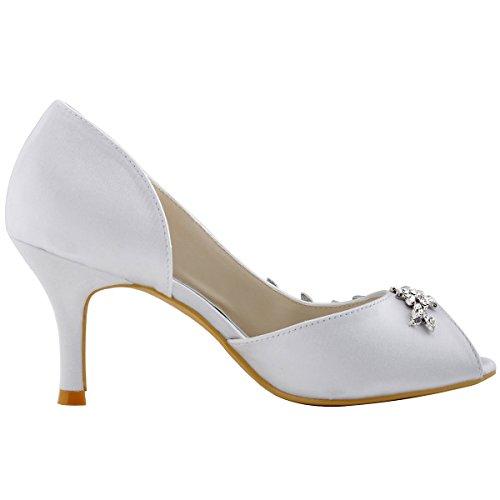 Eleganti Scarpe Da Donna Con Peep Toe In Strass, Scarpe Con Tacco Alto In Raso, Sera, Scarpe Da Sposa, Bianco Ac01