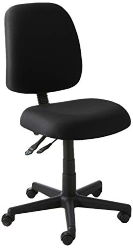 (OFM Posture Series Armless Mid Back Task Chair - Stain Resistant Fabric Swivel Chair, Black (118-2))