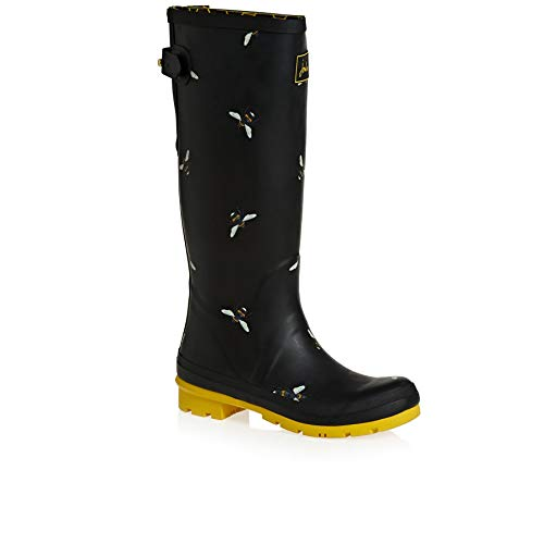 Di black Joules Donna Nero Welly Stivali Bees Gomma Botanical Blkbotb Print xwqt40Xrt