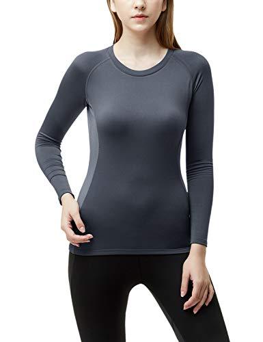 TSLA Women's Wintergear Compression Baselayer Long Shirt, Thermal Round Neck(xud34) - Dark Grey, - Thermal Performance