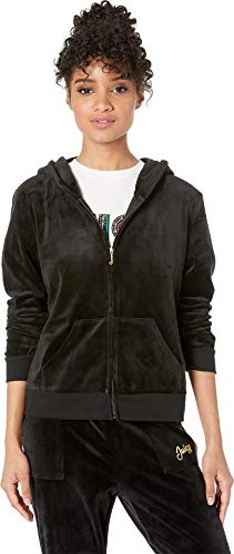 Juicy Couture Womens Glitter - Juicy Couture Women's Cursive Foil Logo w/Glitter Hoodie Pitch Black Large