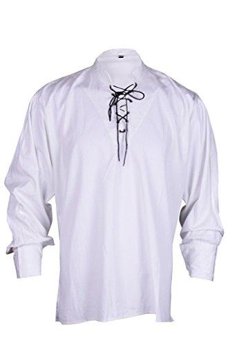[GothikShop Men's Renaissance Summer Pirate Shirt Medieval Hippie Costume Large White] (Male Wench Costume)