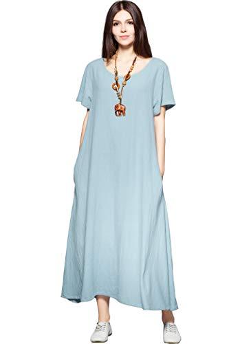 (Anysize Side Pockets Linen Cotton Soft Loose Dress Spring Summer Plus Size Clothing F131A,5X Plus,Light Blue)