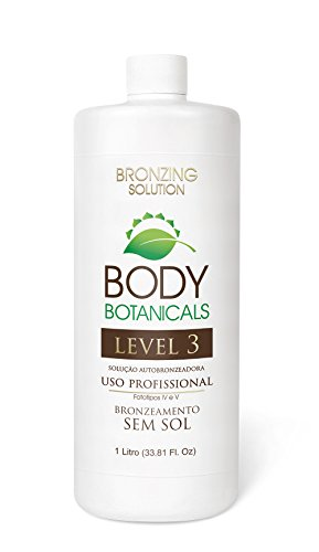 SUNLESS TANNING 12% DHA Professional Airbrush Spray Tan Organic Solution by Body Botanical, UV Free Dark, Spray Tanning formula, Long Lasting, Natural Bronze Color Self Tanner 33.8 oz.