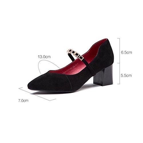 Schwarz High Flachen Heel Dick Frühling Frauen Jingsen Mund Größe Spitzen mit Koreanische Farbe 38 Schuhe Unq1pnHw7