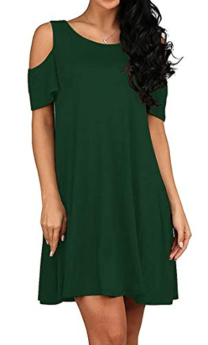 (TWKIOUE Women's Cold Shoulder Dresses with Pockets Loose Strappy T Shirt Swing Dress Dark Green S)