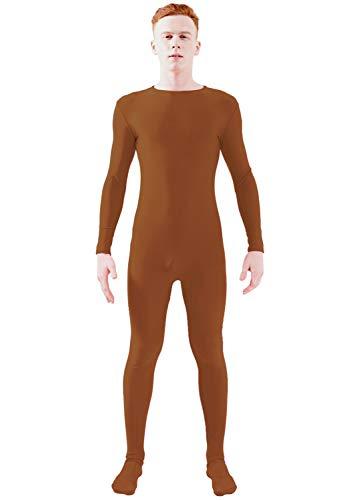 Ensnovo Adult Lycra Spandex One Piece Unitard Full Bodysuit Costume Brown, M -