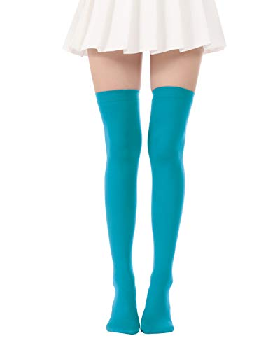 Over Knee Long Striped Stockings Saint Patrick's Day Socks Costume Thigh High Tights(02 Blue -