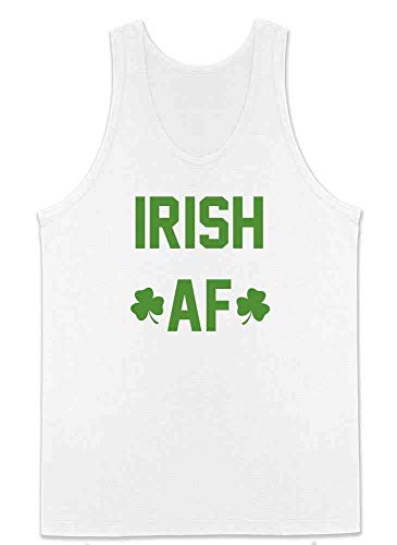 (Pop Threads Irish AF St. Patrick's Day Funny White S Mens Tank Top)