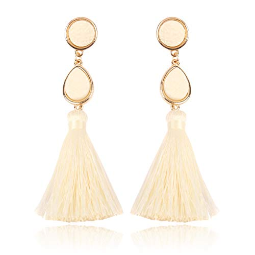 Sparkly Acrylic Druzy Teardrop Jewel Statement Drop Earrings - Lightweight Silky Thread Faux Stone Dangles Fringe Tassel, Oval Hexagon (Teardrop Tassel - Ivory) ()