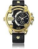 Sheli Mens Fashion Trend 2 Tone Black and Gold Analog Quartz Waterproof Bracelet Watch