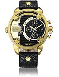 rend 2 Tone Black and Gold Analog Quartz Waterproof Bracelet Watch (Date President White Gold Oyster)