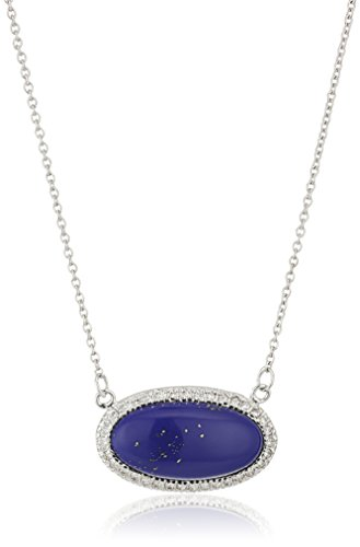 Silver-Tone Simulated Lapis and Cubic Zirconia Oval Pendant Necklace, 18