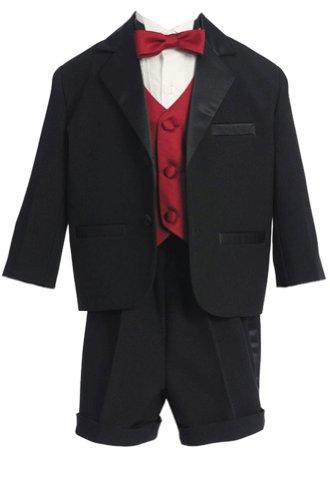 Fougerkids 5 Piece Black/red Baby Boys Wedding Short Tuxe...