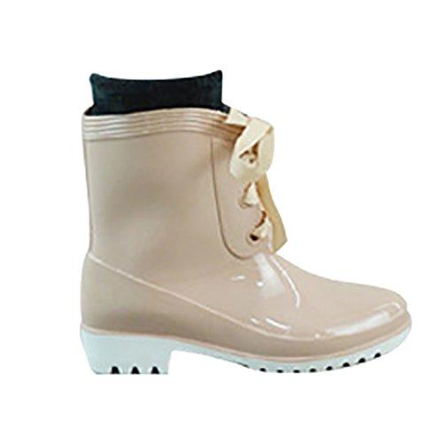 LvRao Mujeres Impermeables Botas Tobillo Alto Nieve Lluvia Zapatos de Goma Wellies Boots Botines Beige