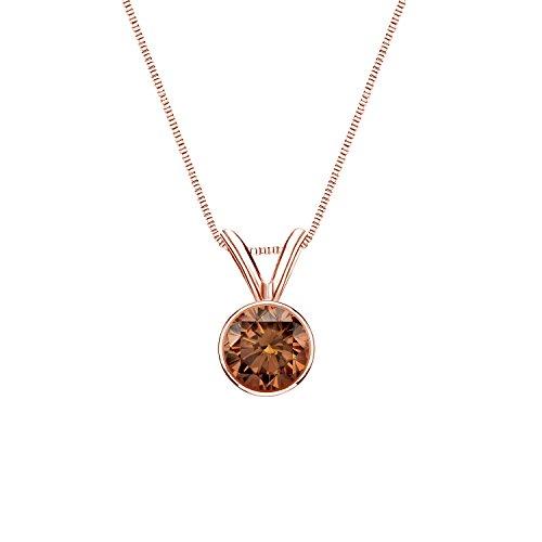 14k Rose Gold Bezel Round-cut Brown Diamond Solitaire Pendant (3/8 cttw, Brown, (9k Gold Diamond Pendant)