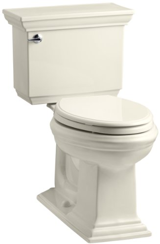 KOHLER K-3817-47 Memoirs Stately Comfort Height Two-Piece Elongated 1.28 GPF Toilet with AquaPiston Flush Technology and Left-Hand Trip Lever, Almond