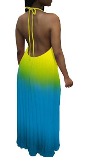 Hollowed Back Halter Sleeveless Cami Gradient Women 4 ainr Strappy Casual Maxi Printing Dress IqRp6