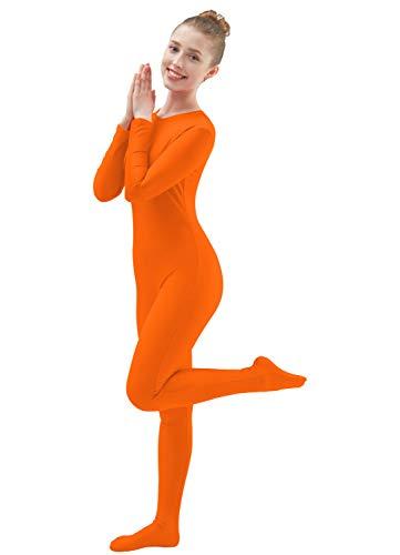 Ensnovo Womens Lycra Spandex One Piece Unitard Full Bodysuit Zentai Suit Costume Fluorange M -